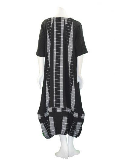 Prisa Black/Grey Striped Pullover Pocket Dress 3385C