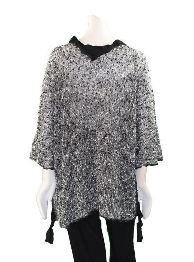 Prisa Grey/Black Dot Pullover Sweater LS-3731