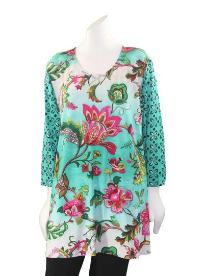 Amma Plus Size Eden Print Pullover Tunic 592ITY