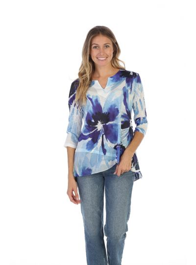 Jess & Jane Plus Size Tahoe Blues Shirt 61-1331X