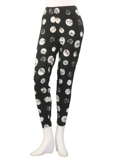 Chalet Plus Size Black/Cream Polka Dot Legging XBT68816