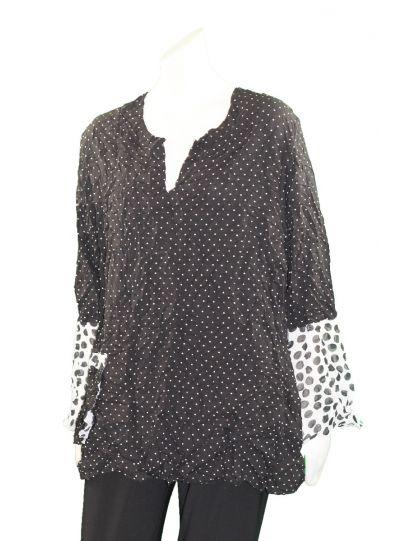 Ela Plus Size Black Polka Dot Crinkle One Pocket Shirt 698