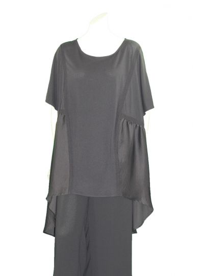 Mat Fashion Plus Size Black High Low Tunic 711-1075