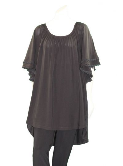 Mat Fashion Plus Size Black Ruffle/Fringe Sleeve Top 711-1121