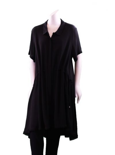 Mat Fashion Plus Size Black High Low Long Button Shirt 711.3008