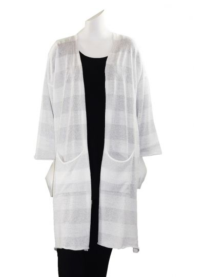 Mat Fashion Plus Size Silver/White Open Front Cardigan 711.5036
