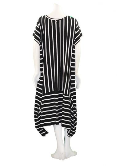 Mat Fashion Plus Size Black/White Striped Dress 711.7066
