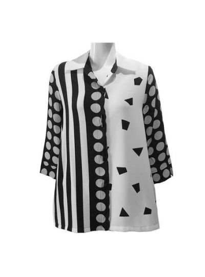 Moonlight Black/White Button Front Jacket/Shirt 2559