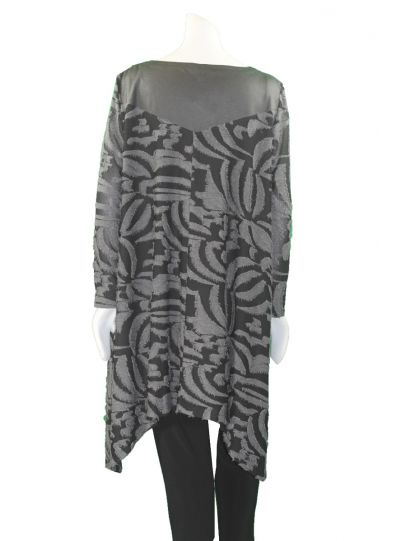 Que Plus Size Black/Grey Long Pullover Tunic 8296-8538