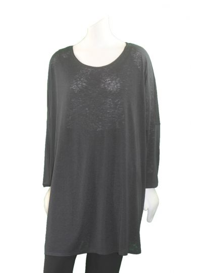 Q'Neel Plus Size Black Solid Over Sized Tunic 83088-8370