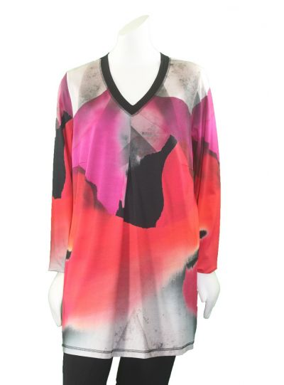 Q'Neel Plus Size Pink/Red Multi Pullover Front Pleat Tunic 83093-8381