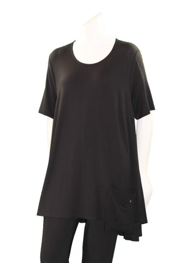 Q'Neel Plus Size Black One Pocket Tunic 83133-2428