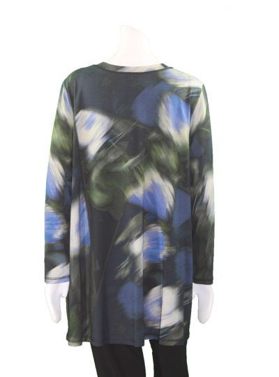 Q'Neel Plus Size Blue Multi Pullover Tunic 8371-8375