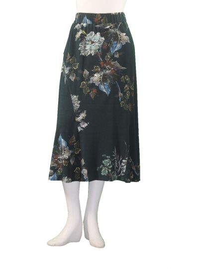 Q'Neel Plus Size Teal Floral Pull On Skirt 85362-8400