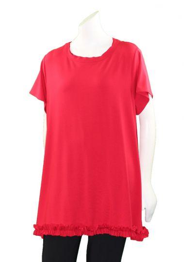 Ela Plus Size Red Ruffle Long Tunic 894