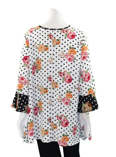 Ela Plus Size White Polka Dot Floral Blouse 934