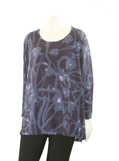 Two Danes Plus Size Purple/Blue Print Tee 95552