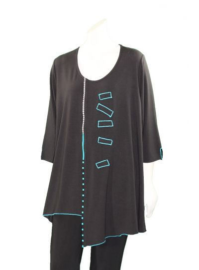 Ela Plus Size Black/Teal Pullover Asym Hem Tunic 963