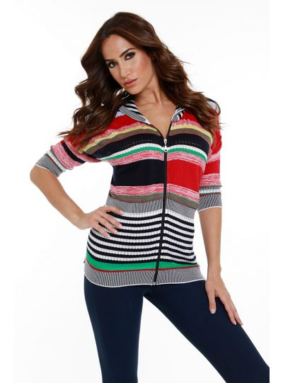 Angel Plus Size Multi Zip Cardigan 8699