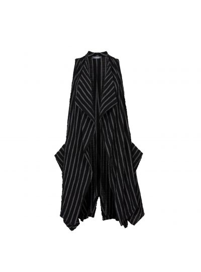 Alembika Black/Grey Striped Long Sleeveless Vest J712S
