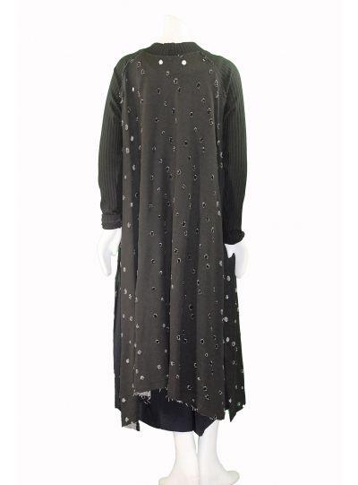 Alembika Black Torn Long Over Piece Dress D227B