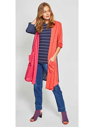 Alembika Multi Color Block Open Front Cardigan J717T