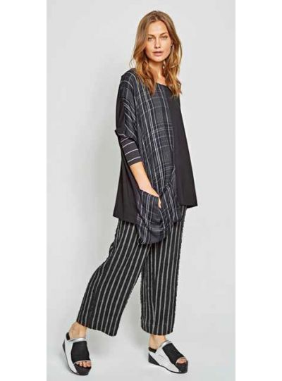 Alembika Black/Grey Striped Pull On Pant P912S