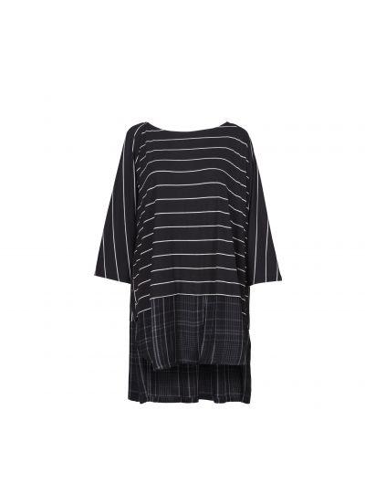 Alembika Black/Plaid Striped Pullover Tunic T616B