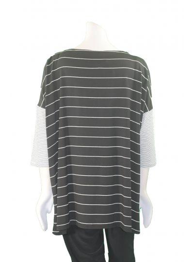 Alembika Black/White Stripe 3/4 Sleeve Top T629S