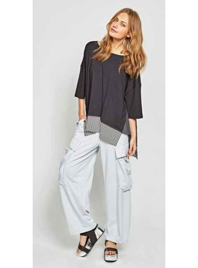 Alembika Black/White/Grey Pullover Style Uneven Hem Tunic TT409B