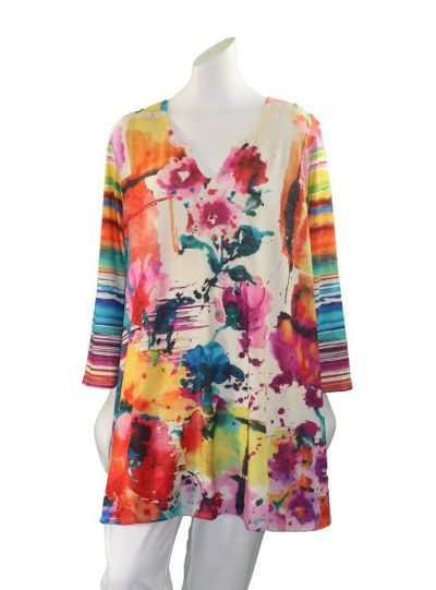 Amma Plus Size Color Included Printed Tunic 591