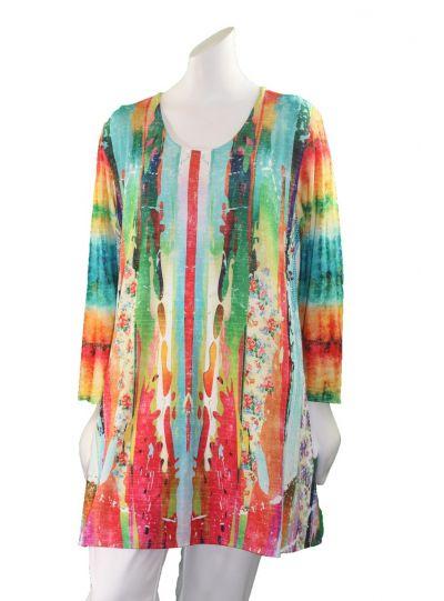 Amma Plus Size Keepsake Print Pullover Tunic 592