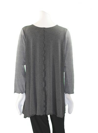 Sondra Sardis Charcoal/Multi Applique Tunic