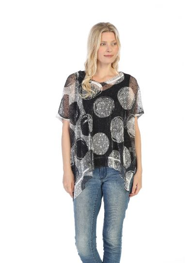 Jess & Jane Plus Plus Black/White Polka Dot Sheer Tunic BC1-1339X