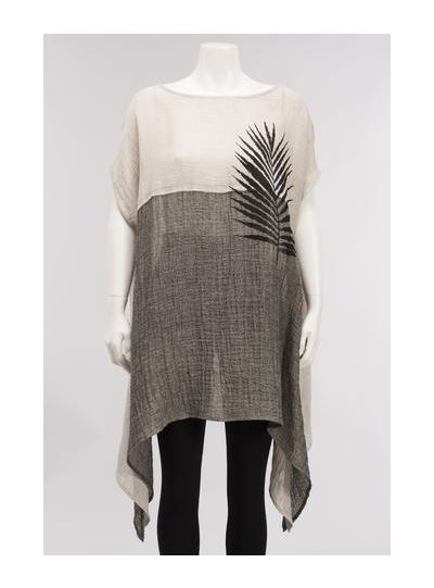Igor Grieg Natural/Black Asian Inspired Long Over Sized Pullover Tunic S18-25