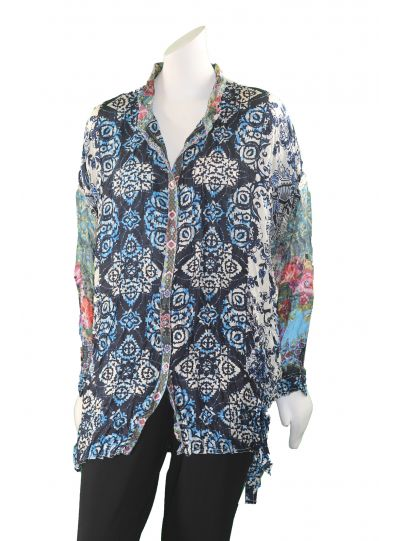 Johnny Was Multi Print Button-Down Blouse C13217-9