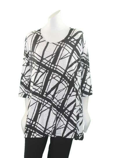 Caribe Plus Size Black/White Printed Pullover Tunic C1431-P310
