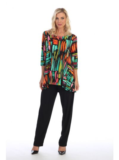 Caribe Plus Size Printed High/Low Pullover Tunic C1431-P315