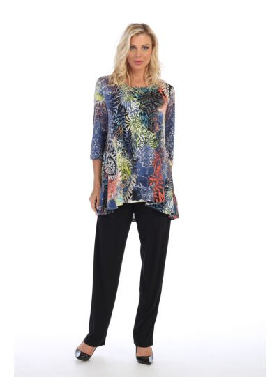 Caribe Plus Size Printed High/Low Pullover Tunic C1431-P316