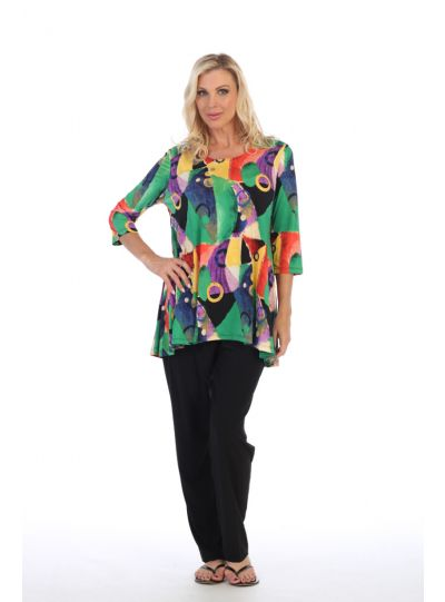 Caribe Plus Size Printed High/Low Pullover Tunic C1431-P323