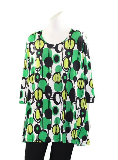 Caribe Plus Size Green/White Printed 2 Pocket Tunic C1431-P95