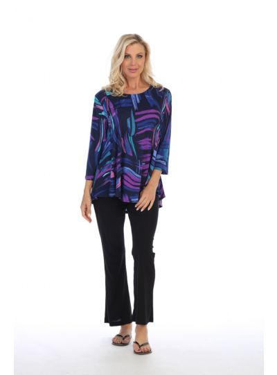 Caribe Plus Size Multi Printed High Low Tunic C1431-P329