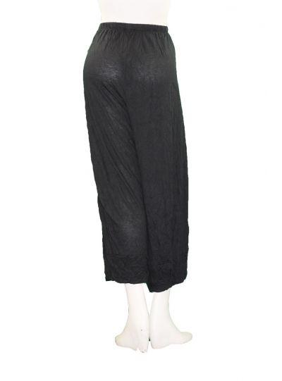 Comfy Plus Size Black Crinkle Pandora Crop Pant C240