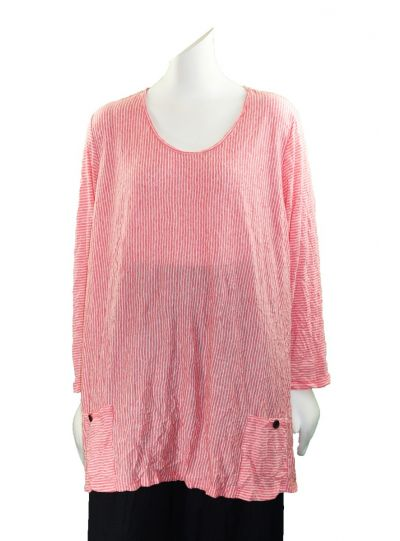 Comfy Plus Size Coral Striped Crinkled 2 Pocket Top C524
