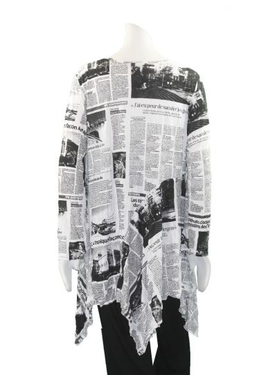 Comfy Plus Size News Print Crinkled Sea Tunic C626