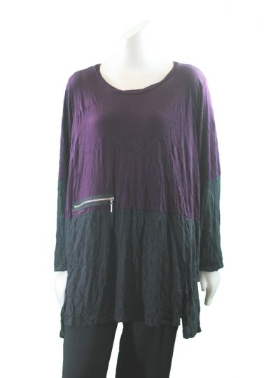 Comfy Plus Size Black/Purple Crinkle Vivian Tunic C631
