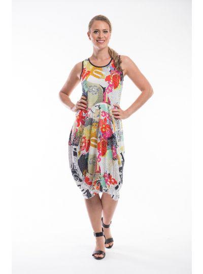 Orientique Plus Size Multi Printed Pullover Dress 61-275