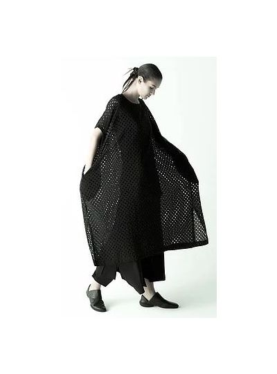 Moyuru Black Over Sized Fishnet Long Dress 191714