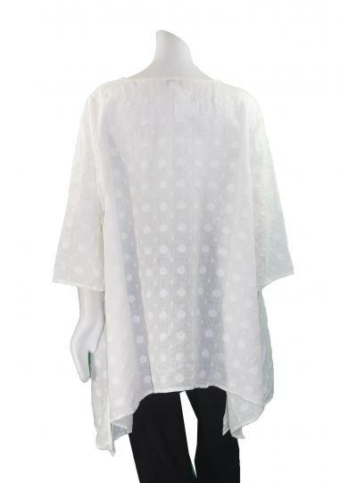 Cheyenne Plus Size White Dot Pullover Top LT0861