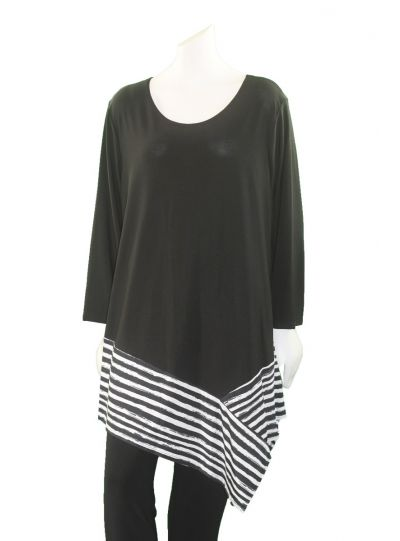 Channa Black/White Striped Plus Size Tunic CHT-1068